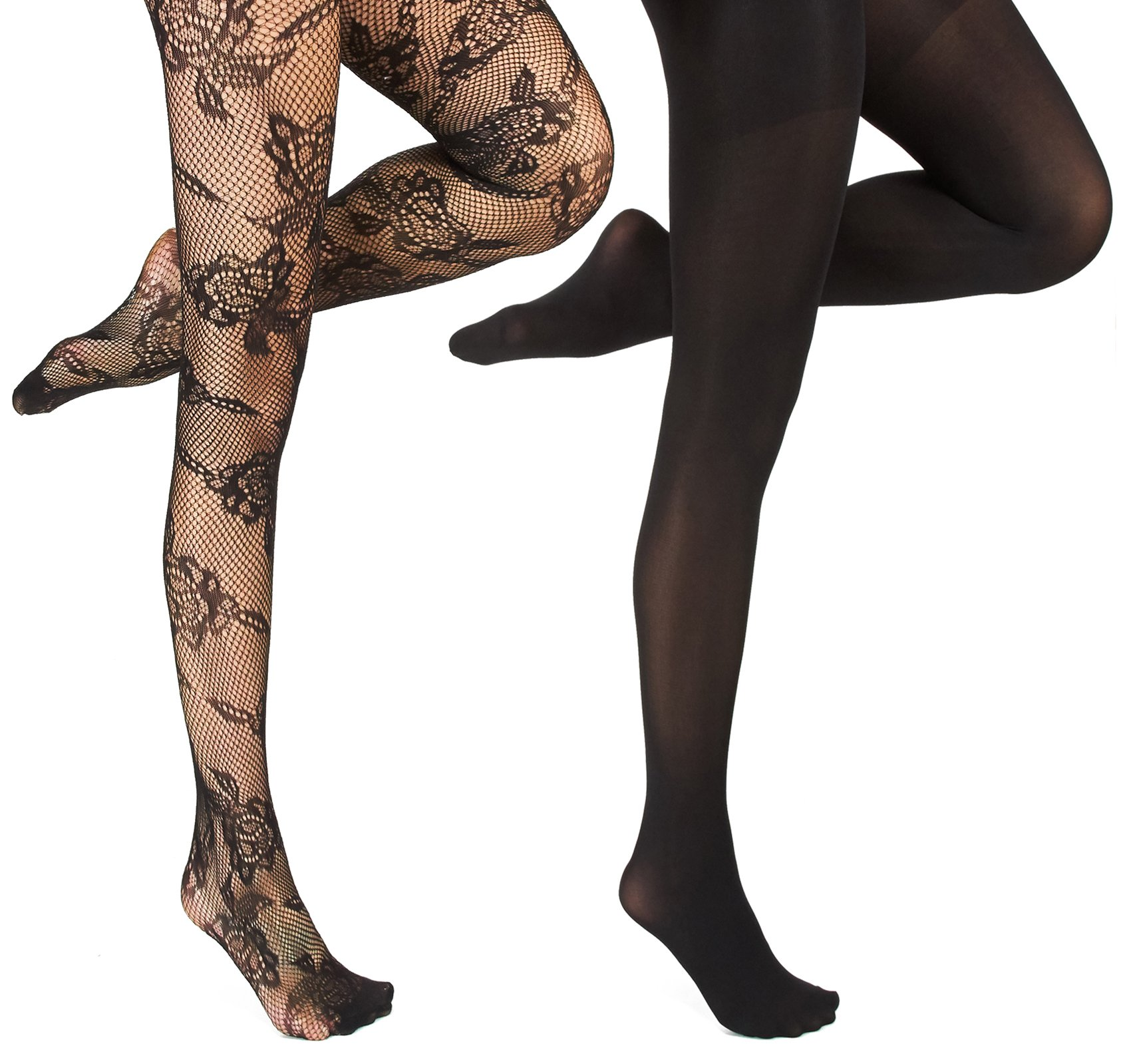Marilyn Monroe Womens Ladies 2Pack Black Floral Fishnet Tights With Solid Opaque 1X/2X