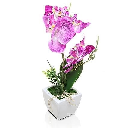 Amazon mygift purple silk lady slipper orchidsdecorative mygift purple silk lady slipper orchidsdecorative artificial flower plant wwhite ceramic square mightylinksfo