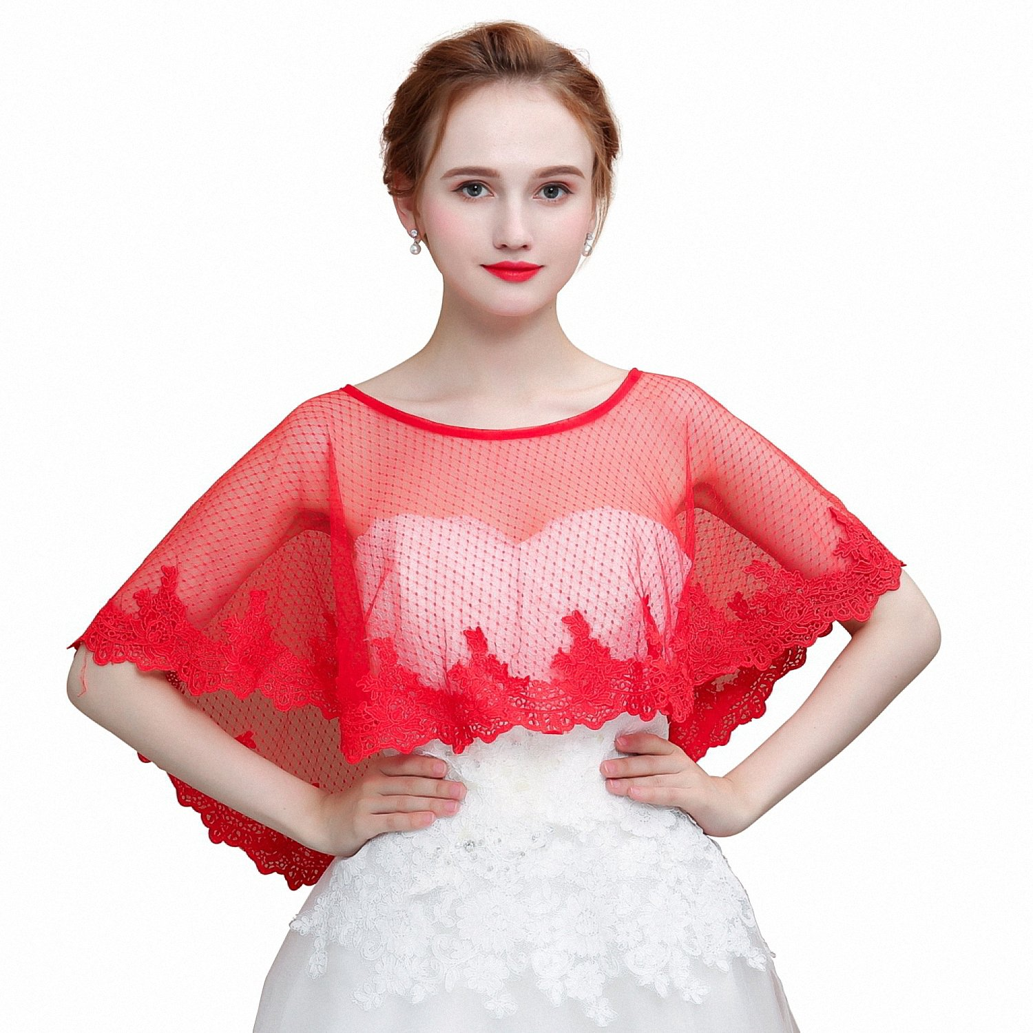 Kanrome Fashion Women Wrap Lace Edge Dot Tulle Shawl For Wedding Bridal Red At Amazon Women's Clothing Store: Red Bridal Wedding Dress Cover Ups At Websimilar.org