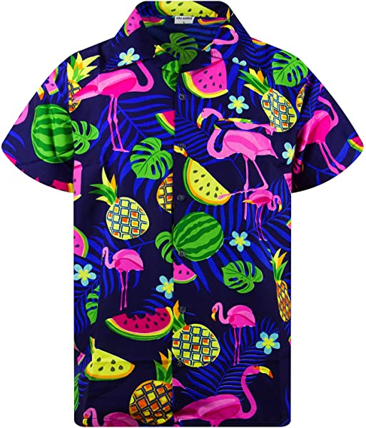 Funky Hawaiian Shirt Flamingo Short Sleeve Different Colors