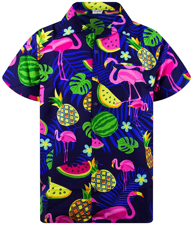 Hawaiano-Imprimir Flamingo Melon XS-6XL King Kameha Camisa Hawaiana enrrollada Manga Corta Bolsillo Frontal Hombres