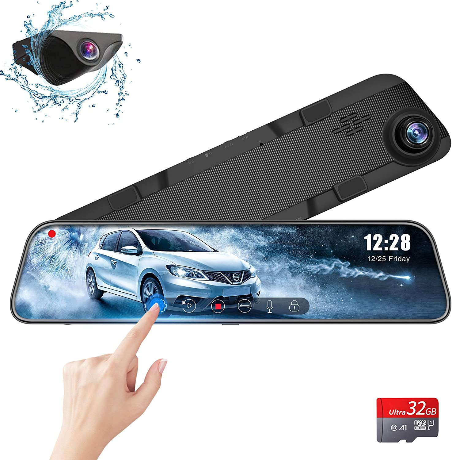 "Rearview Mirror Dash Cam Front and Rear Backup Camera, Parking Assitance and Night Vision with Sony 1296P Stream Media 12"" IPS Full Touch Screen Car Recorder for Cars/Trucks (GPS & 32G Card Included)"
