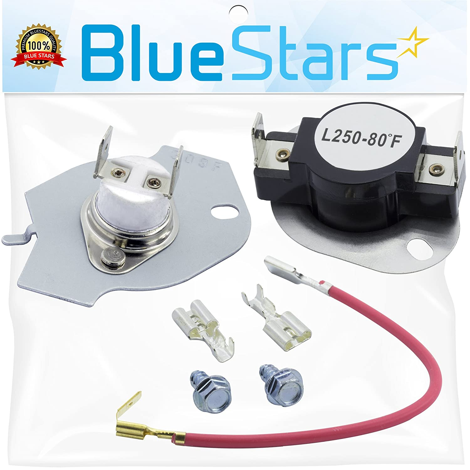 279816 Dryer Thermostat Kit Replacement by Blue Stars - Exact Fit for Whirlpool & Kenmore Dryer - Simple Instructions Included - Replaces 3399848 3977393 AP3094244