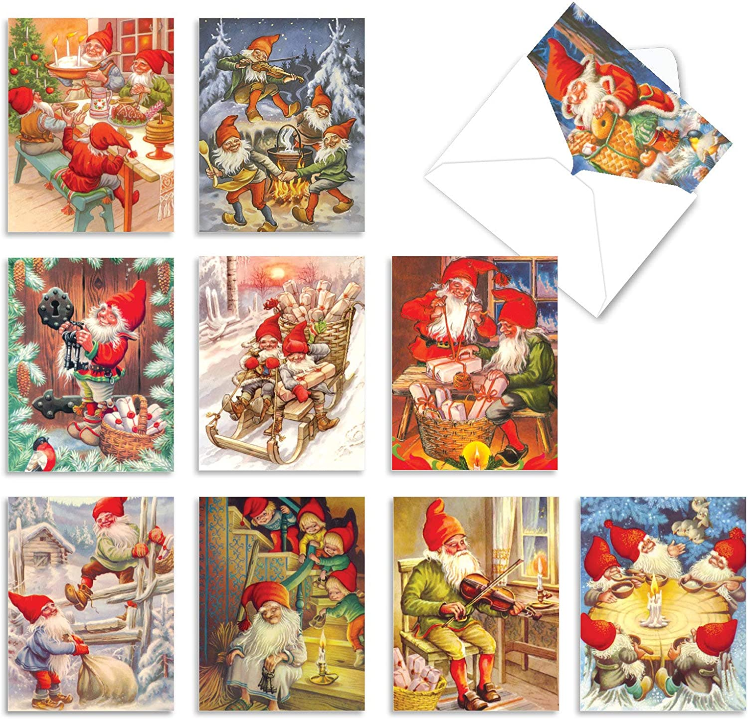 5.5x4.25 12 Pack Christmas Gnomes Blank Note Cards Holiday Greeting Cards with Envelopes 4 Unique Designs