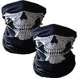 WOVTE Black Seamless Skull Face Tube Mask Pack of 2