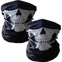 WOVTE 2 Pack Seamless Skull Face Tube Mask