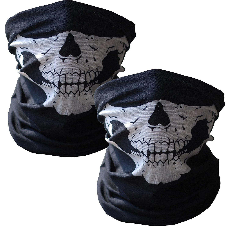WOVTE Black Seamless Skull Face Tube Mask Pack of 2 SFM-02