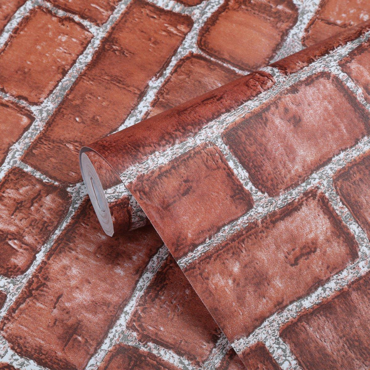 Coavas Decorative Self-Adhesive Wallpaper Red Brick Printed Stick Paper Easy to Apply Peel Stick Wallpaper (17.7x196.9 inch)