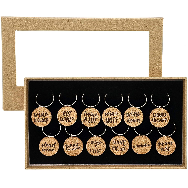 Ensemble de 12/pi/èces de verre /à vin Charms/ r/éunions/ les r/éunions /2,5/x 0,5/cm marron /en li/ège naturel en verre D/écorations pour les f/êtes