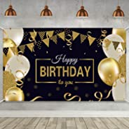Happy 30th 40th 50th 60th Birthday Party Decoration, Extra Large Fabric Sign Poster for Happy Birthday Backdrop Background Ba