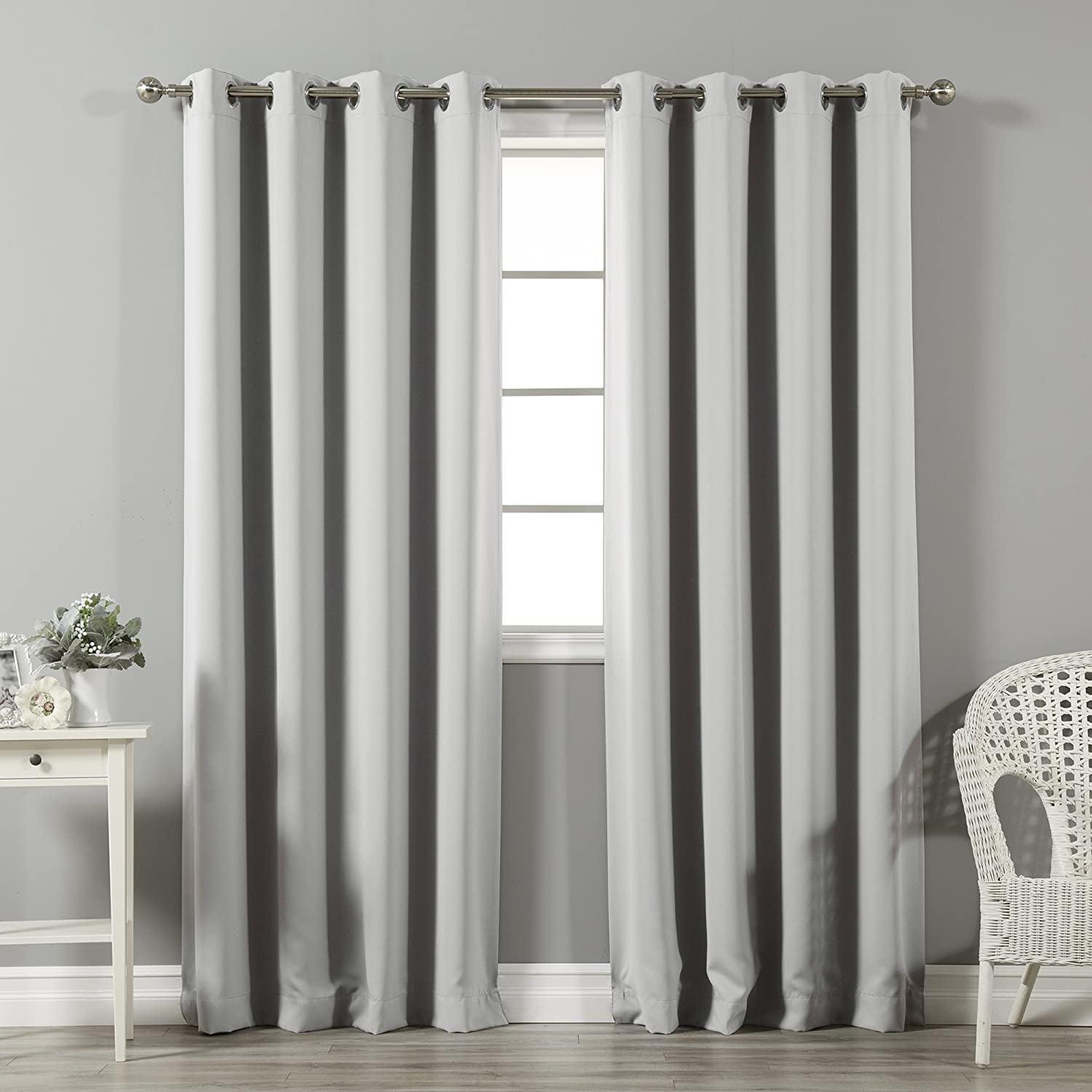 Best Home Fashion Thermal Insulated Blackout Curtains - Stainless Steel Nickel Grommet Top - Light Grey