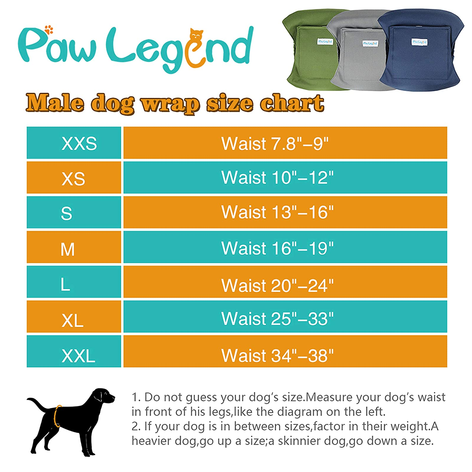 Paw Legend Washable Dog Belly Wrap DiapersMale - 3