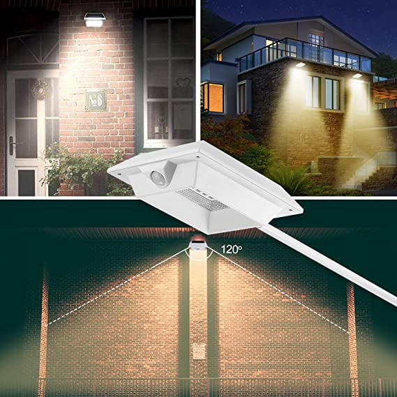 Lámpara solar exterior, MR. Twinkle Light 2200 mAh LED Lámpara solar con PIR Detector de movimiento superhelles Solar lámpara para exterior, vía, Jardín, ...
