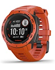 $244 » Garmin Instinct, Rugged Outdoor Watch with GPS, Features GLONASS and Galileo, Heart Rate Monitoring and 3-Axis Compass, Red