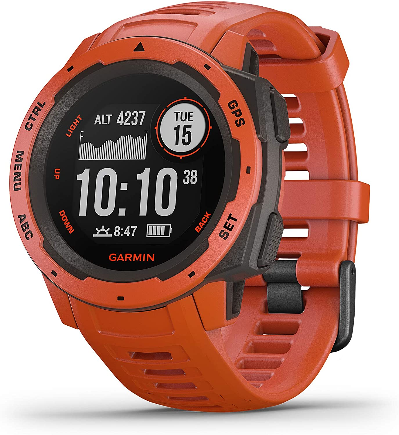 Garmin Instinct, Rugged Outdoor Watch with GPS, Features GLONASS and Galileo, Heart Rate Monitoring and 3-Axis Compass, Flame Red, 1.27 inches, Model Number: 010-02064-02