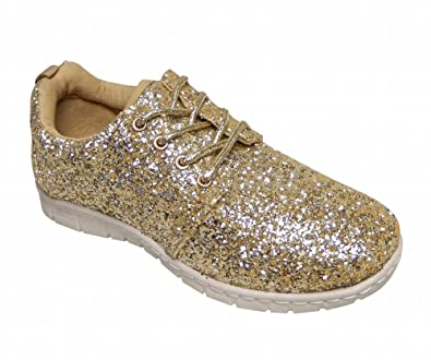 Ladies Lace Up Glitter Sparkly Trainers Sneakers Gym Pumps Fitness (UK 5 5288a7134d