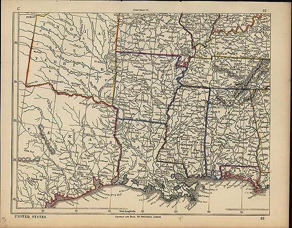 Map Of South Central Texas.Amazon Com South Central United States Arkansas Alabama Texas C