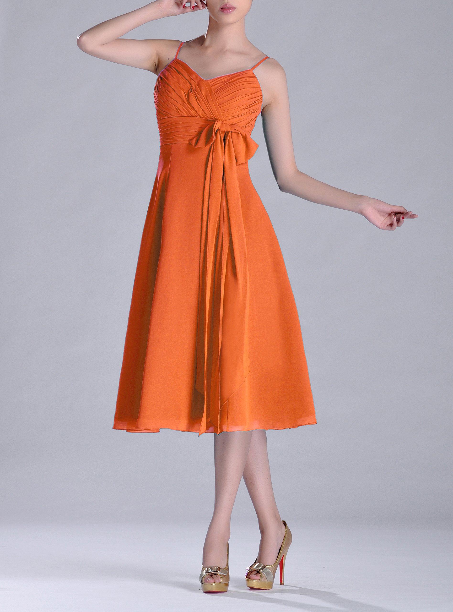Adorona Homecoming Cocktail Junior A-line V-Neck Chiffon Modest Bridesmaid Dress Tea Length