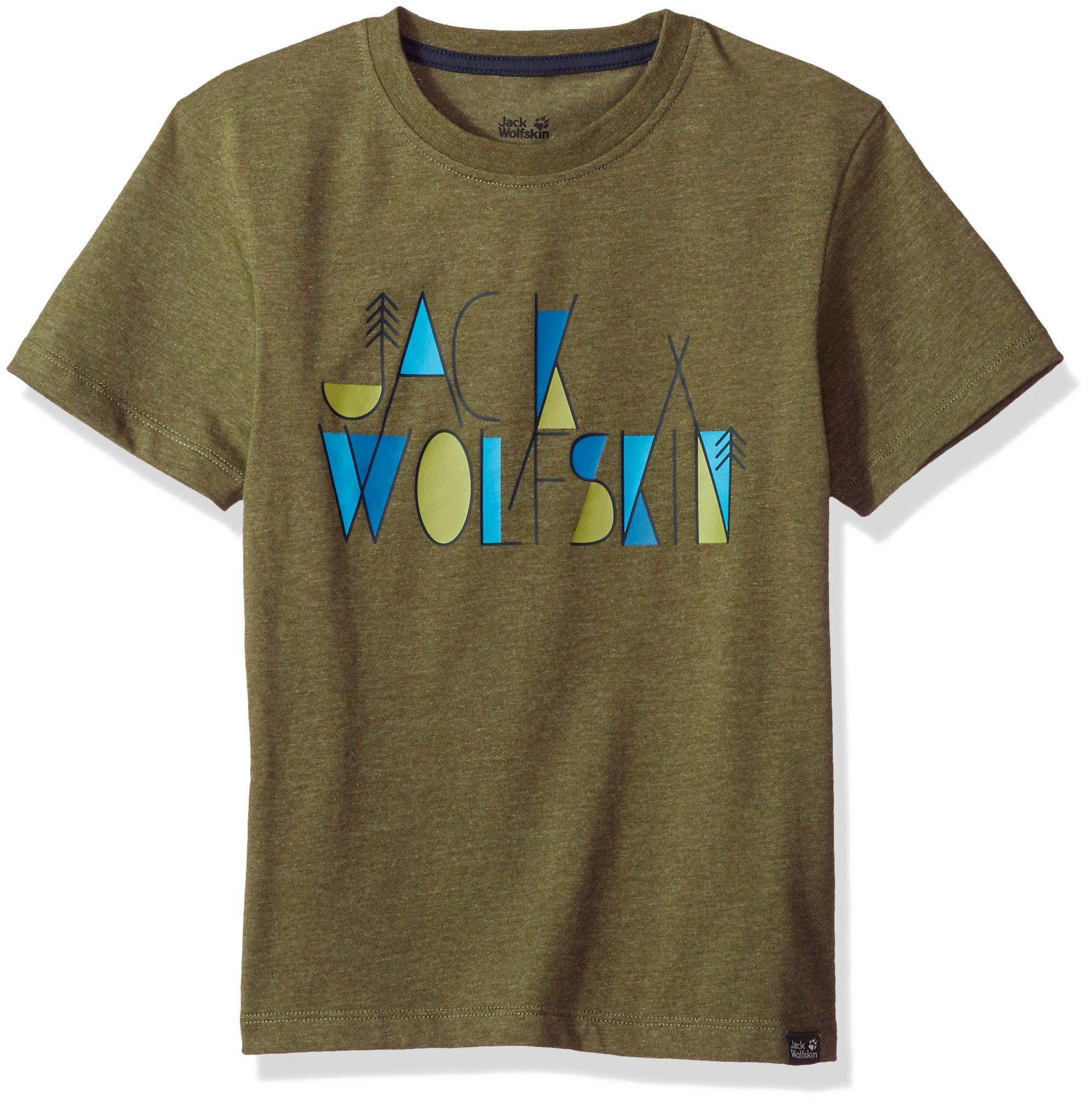 Jack Wolfskin Boy's Brand T T-Shirt Short Sleeve, 176 (14 Years & Older), Woodland Green
