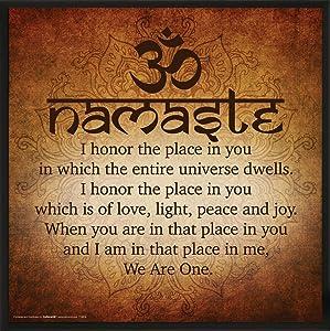 Culturenik Namaste Buddhist Inspirational Motivational Spiritual Yoga Quote Print (Framed 12x12 Poster)