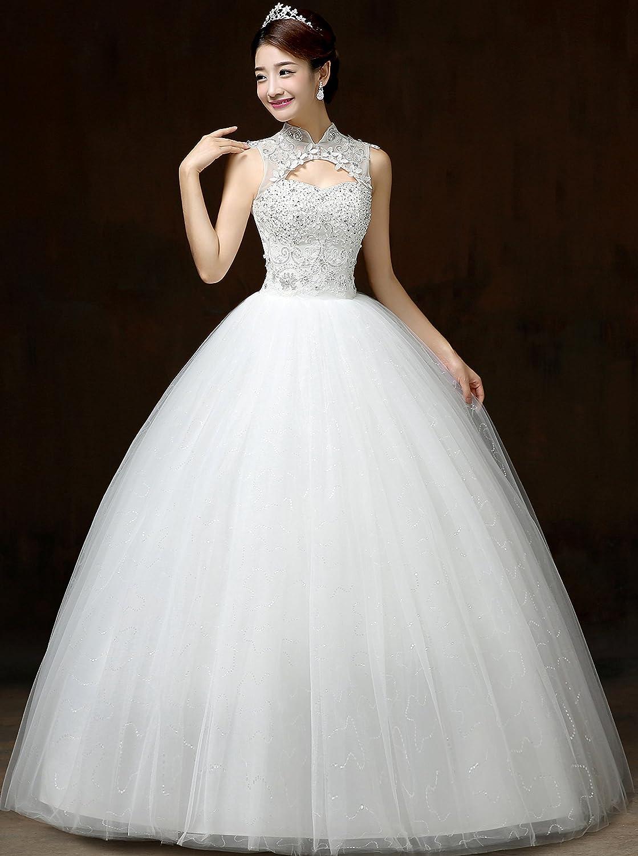 aca3f30895d9 Clover Bridal Vintage High Collar Pearl Wedding Dress for Bride White Under  100