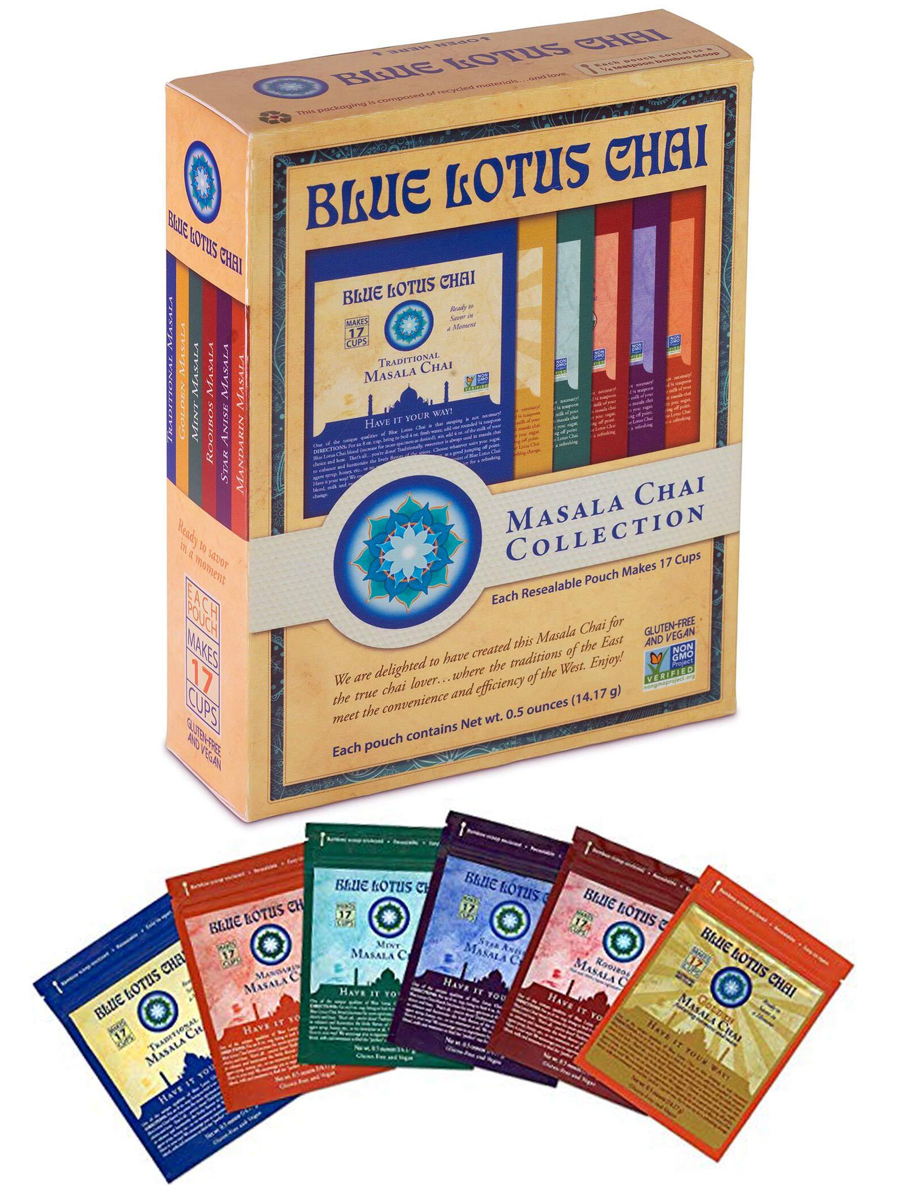 Blue Lotus Chai - Masala Chai Collection - Six Varieties - 0.5 oz each (14.17g)