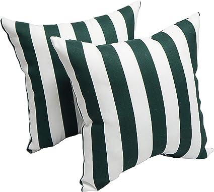 Blazing Needles Hunter Stripe 17 Inch Indoor Outdoor Throw Pillow Set Of 2 17 X 17 Green Garden Outdoor