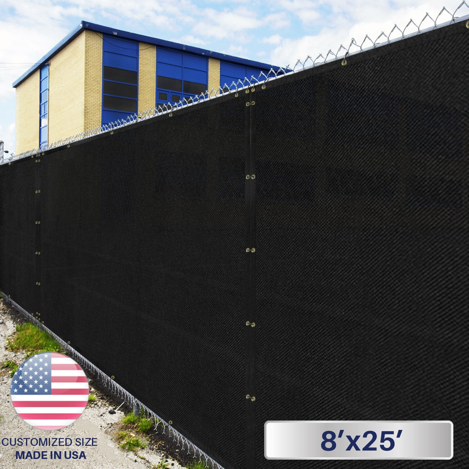 8' x 25' Privacy Fence Screen in Black with Brass Grommet 85% Blockage Windscreen Outdoor Mesh Fencing Cover Netting 150GSM Fabric - Custom