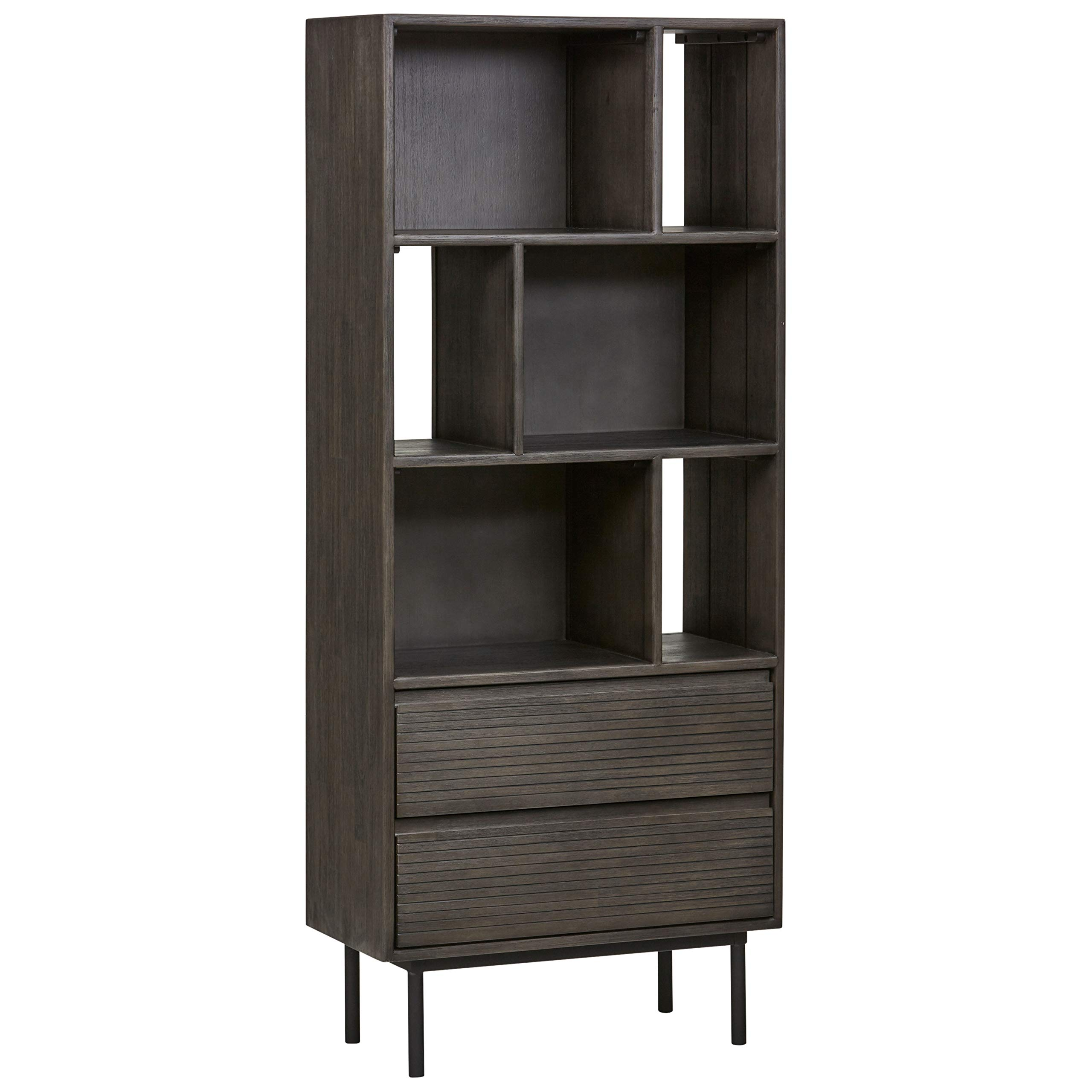 Rivet Stevens Modern Bookcase, 27.56''W, Acacia, Brushed Tundra Gray