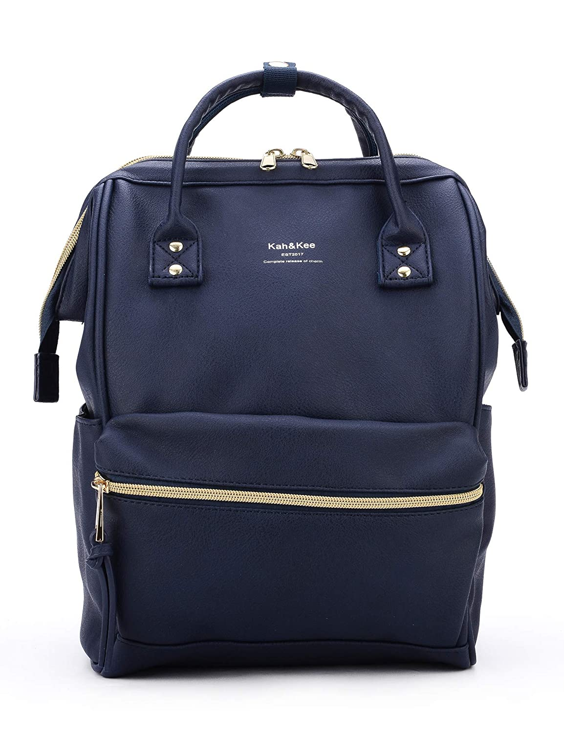 Navy Small Kah&Kee Leather Travel Notebook Backpack Laptop School Diaper Bag for Women Man Small (Navy)
