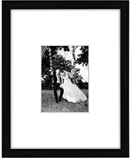 11x14 black wall picture frame matted to fit pictures 5x7 inches or 11x14 without mat