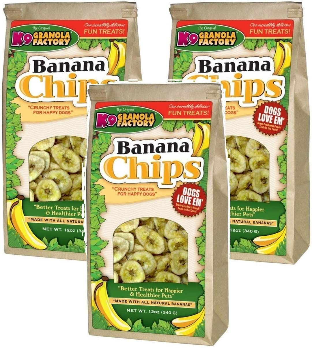 3 Pack K9 Granola Factory Banana Chips Dog Treats, 12 Ounces each