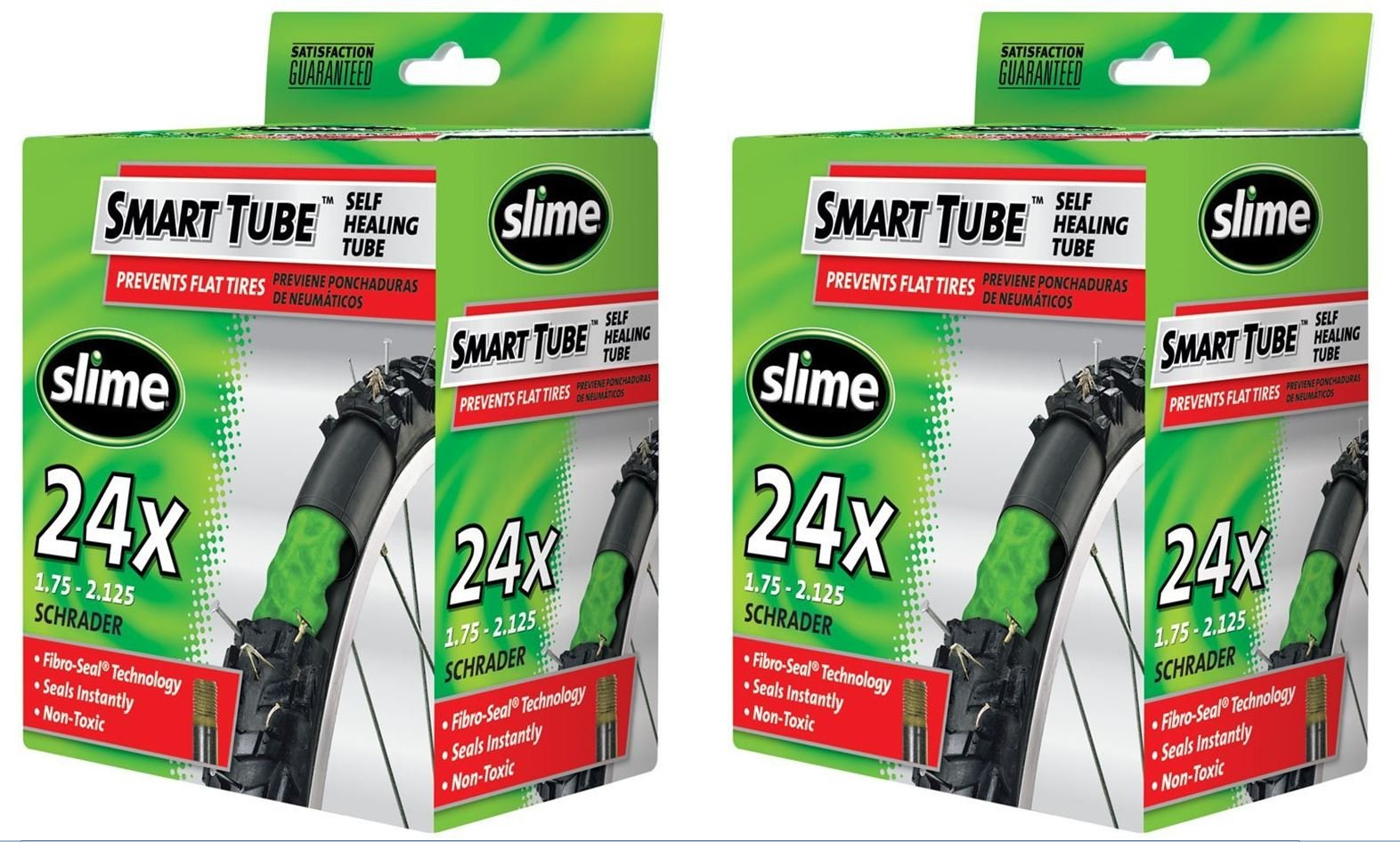 Slime Smart Tube Schrader Valve Bicycle Tube (24'' X 1.75 to 2.125), 2 Pack by Slime (Image #1)