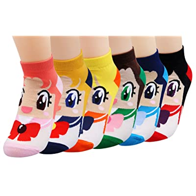 6 Pairs Womens Cute Themed Sailar Moon Printed Cotton Ankle Socks: Clothing