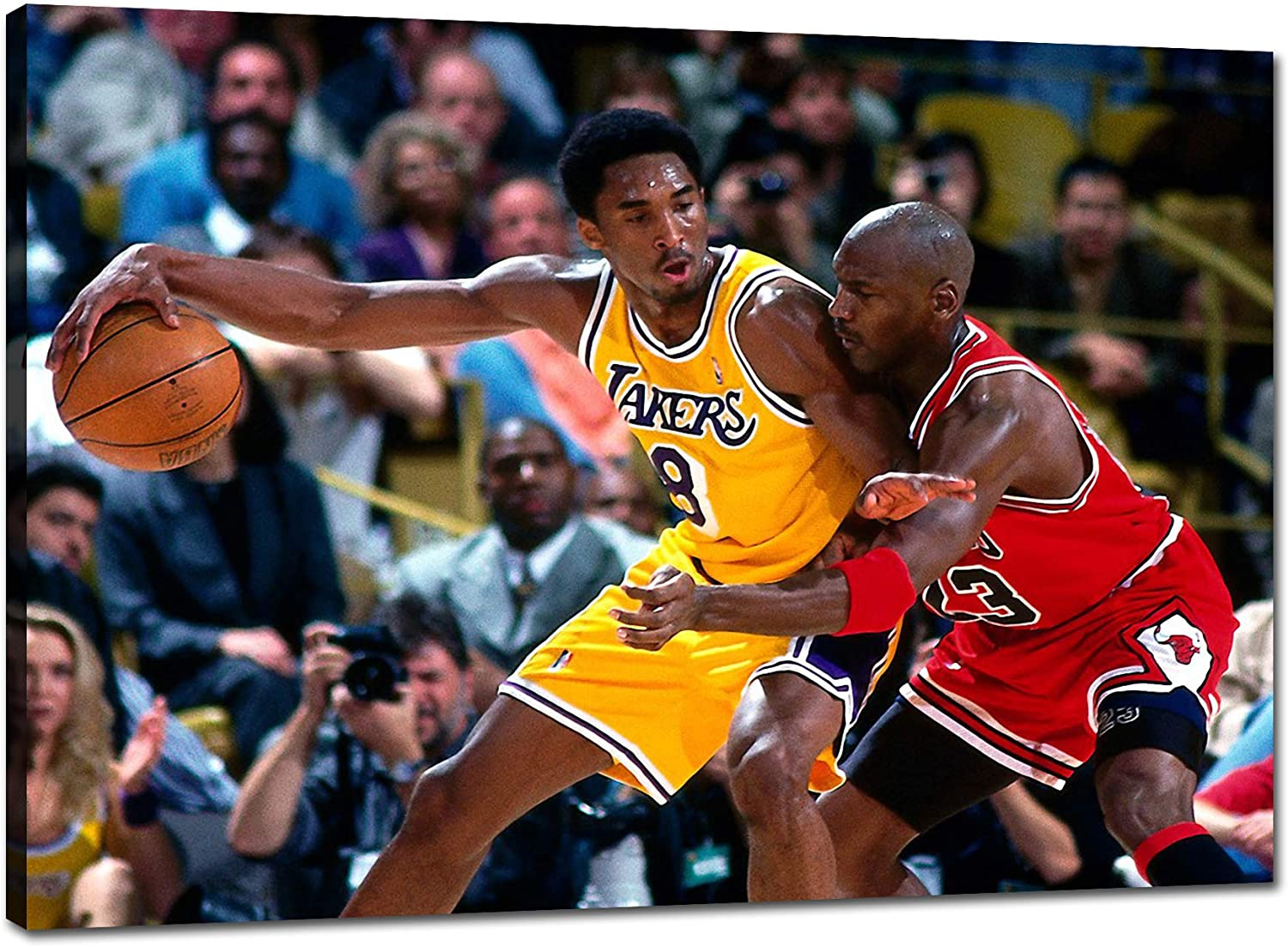 TWO J NBA Legends Star Kobe Bryant Vs Michael Jordan Classic Matchup Posters HD Prints on Canvas Modern Home Decor Wall Art Painting Picture Stretched and Framed Artwork Ready to Hang [36''W x 24''H]