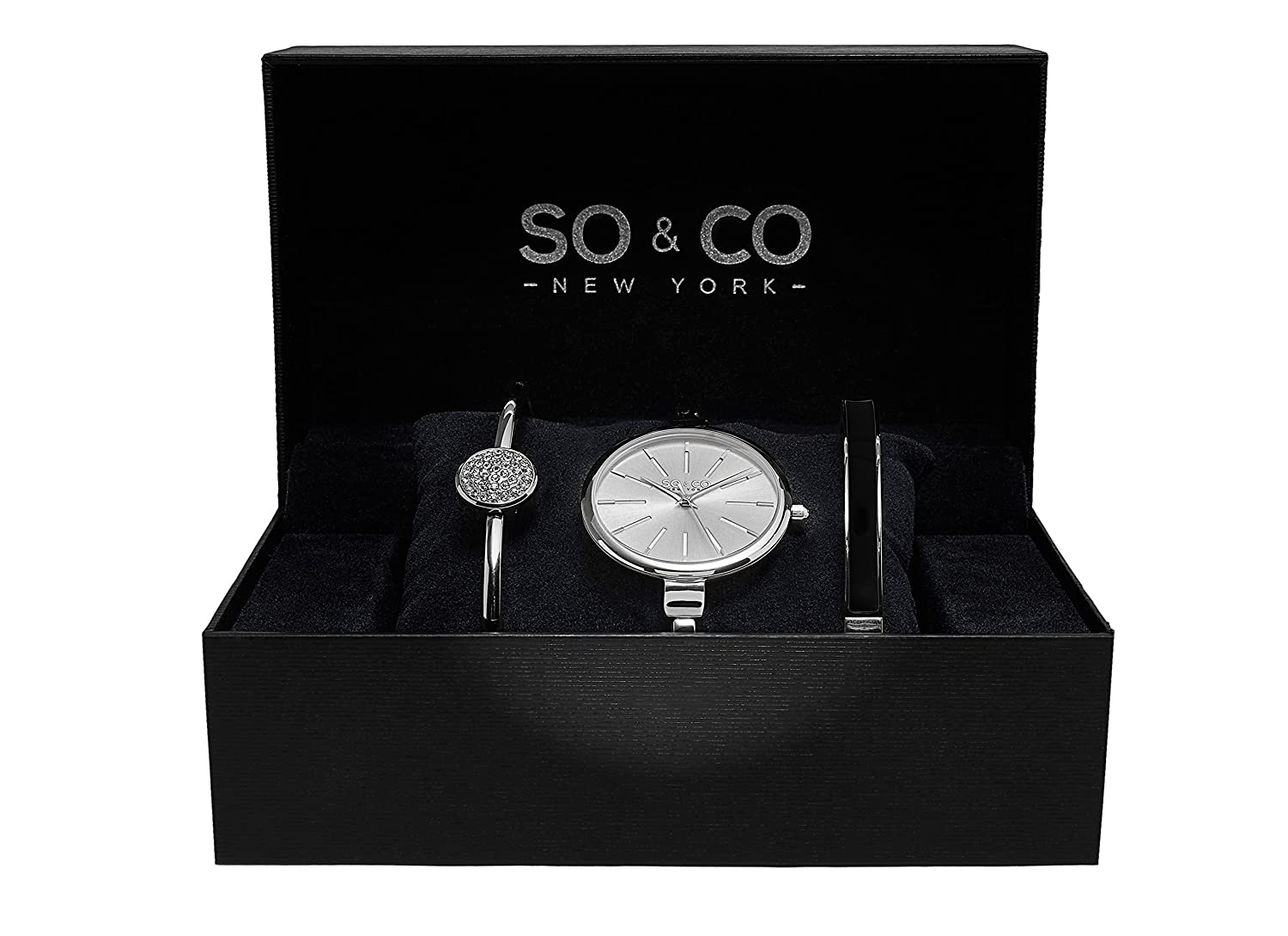 SO CO New York Womens Madison Ultra Slim Bangle Set Watch With Silver Dial And Band Amazonca Watches