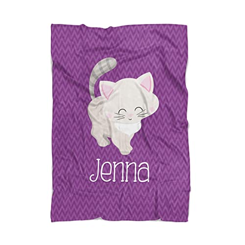 2dcfb37534dd Image Unavailable. Image not available for. Color: Cat Throw Blanket -  Purple Kitty Cat Personalized ...
