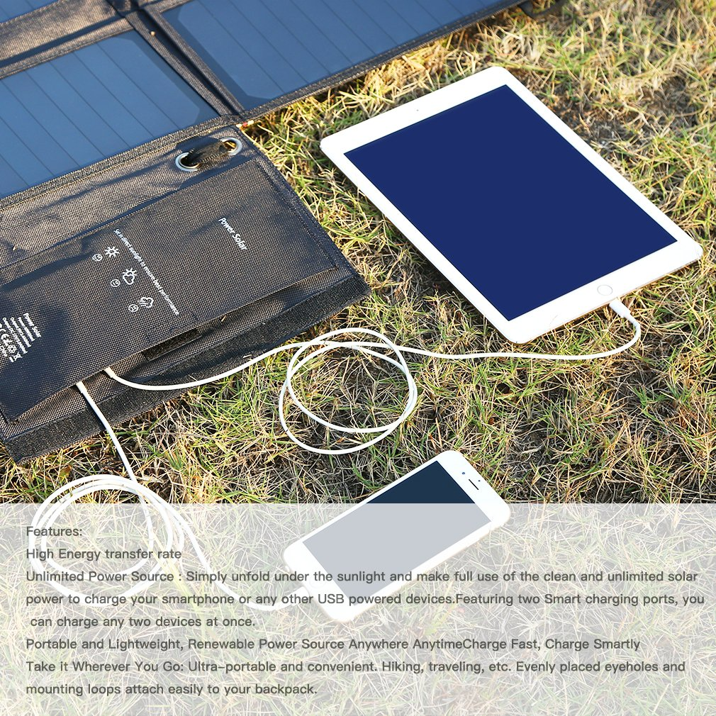 LESHP Highest Efficient Solar Charger 40W Foldable Sunpower Solar Panel Charger Dual Output (5V USB + 12V DC) For StorageBattery, iPhone, iPad, Android Smart Phone by LESHP (Image #3)