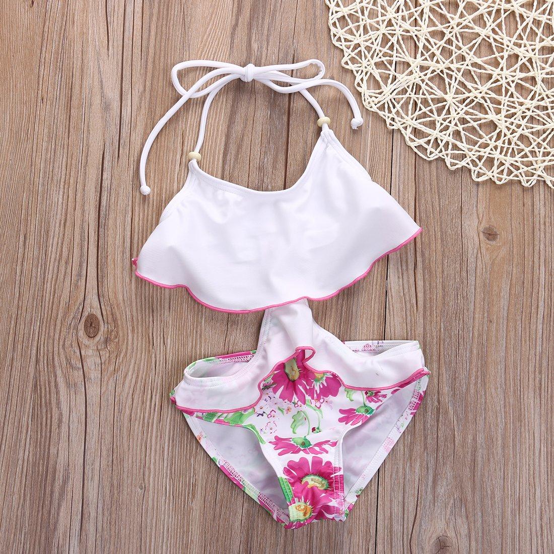 Little Girls One-piece Ruffle Flower Print Backless Monokini Swimsuit