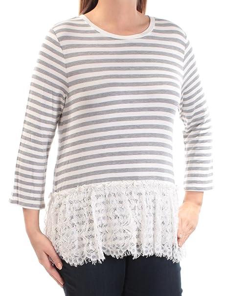 eea4f1ba290643 Amazon.com  Maison Jules Womens Striped Lace Trim Peplum Top  Clothing