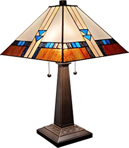"""Amora Lighting Tiffany Style Table Lamp Mission 23"""" Tall Stained Glass Blue White Brown Vintage Antique Light Décor Nightstand Living Room Bedroom Office Handmade Gift AM243TL14B, Multicolored"""