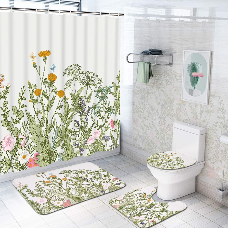 Coast Shower Curtain Bathroom Rug Set Thick Bath Mat Non-Slip Toilet Lid Cover