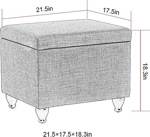 Adeco Fabric Bench Classic Rectangular-22x18x18 Storage Ottomans