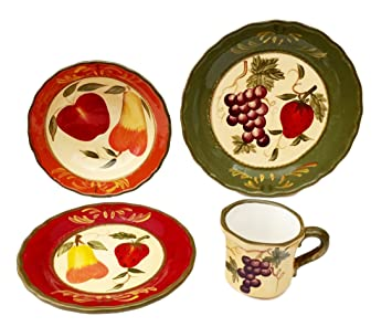 Tuscany Garden Colorful Hand Painted Mixed Fruit 16pc Dinnerware Set 89216 by ACK  sc 1 st  Amazon.com & Amazon.com - Tuscany Garden Colorful Hand Painted Mixed Fruit 16pc ...