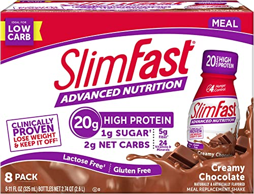 SlimFast Advanced Nutrition Creamy Chocolate Shake Meal Replacement 20g of Protein 11 Fl Oz Pack of 8