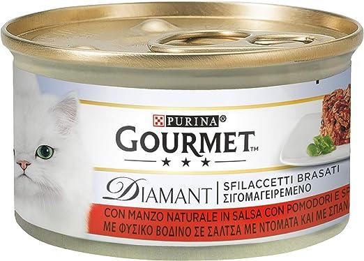 Gourmet Diamant PURINA HÚMIDO Gato desfilachados con Carne de Sauce con Tomates y Espinas - 24 latas de 85 g Cada una (Paquete de 24 x 85 g): Amazon.es: Productos para mascotas