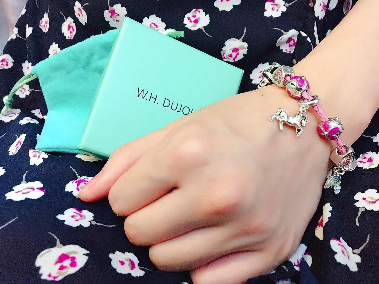 Braccialetto con ciondolo a forma di unicorno rosa per ragazze idea regalo