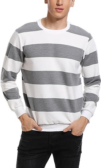 TALLA S. Abollria Camiseta de manga larga para hombre, diseño de rayas, algodón, cuello redondo, básica, informal