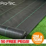 2m x 50m wide 100gsm weed control fabric garden landscape ground cover membrane 50 FREE PEGS