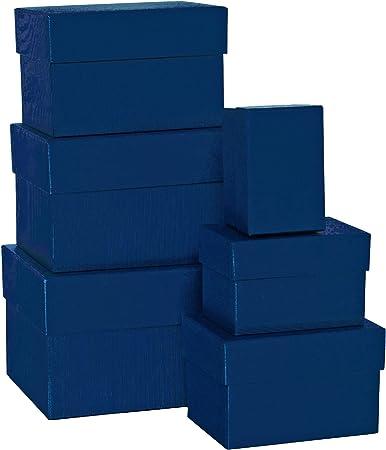 Rössler Papier 1344453900 Boxle - Caja de cartón (rectangular, 2 unidades, distintas medidas, 6 unidades), color azul marino: Amazon.es: Oficina y papelería